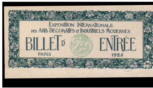 ticket entree paris 1925